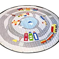 Ronda Kids Room Rug Toys Storage Organizer Bag, Algodón Grande Antideslizante Cartoon Animal Children Floor Floor Game Mat con Cordón, Kids Room, 59X59 Pulgadas