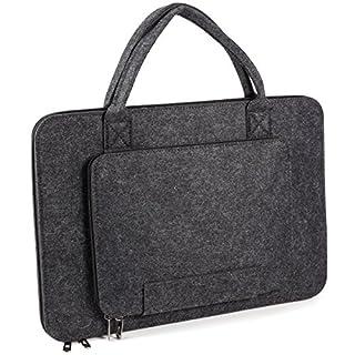 Anladia 15.6 Inch Laptop Sleeve Felt Pocket Case Notebook Bag Computer Carrying Bag Ultrabook Tablet Briefcase for 15 15.6 Inch Asus/Acer/Dell/HP/Lenovo/Toshiba - Dark Grey