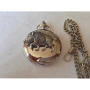 A71Wildschwein 4poliert Silber Fall Herren Geschenk Quarz Taschenuhr hergestellt in Sheffield