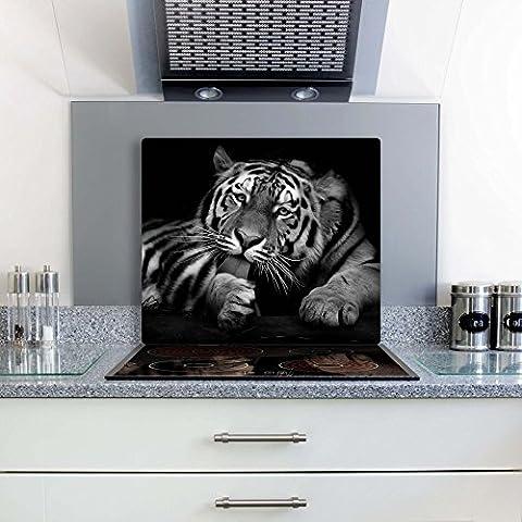 gsmarkt   herdabdeckplatte Planche à découper Protection anti-éclaboussures 60x 52  image sur verre   Verre de sécurité trempé verre photo   Motif tigre