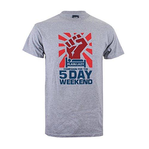 Plain Lazy Herren 5 Day Weekend-Mens T-Shirt, Grau (Sport Grey), L