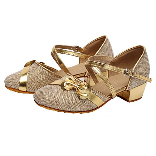 Oasap Gril's Bow Cross Strap Latin Dance Shoes Gold