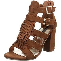 Damen Schuhe, 1355-GL, SANDALETTEN, PUMPS RIEMCHEN, Synthetik in hochwertiger Wildlederoptik , Camel, Gr 41