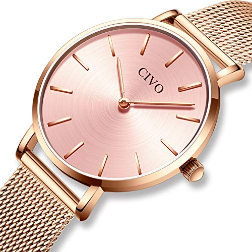 CIVO Relojes Mujer Ultra Fino Silm Minimalista Reloj de Señoras Impermeable Moda Vestir Elegante Relojes de Pulsera Casual Acero Inoxidable Malla Reloj de Cuarzo para Mujeres