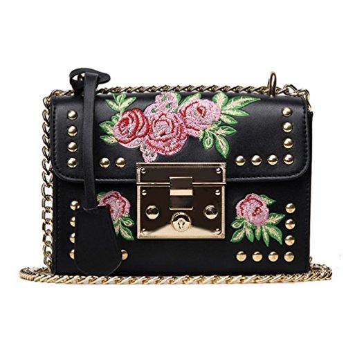 Byste nuovo donna borse del messaggero rosa ricamo catena pelle piccolo borsetta casuale borse a tracolla crossbody borse spalla messenger borse (nero)