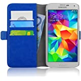 Samsung Galaxy S5 / S5 Neo Lederhülle | JAMMYLIZARD Handyhülle [ Luxuriöse Series ] Ledertasche Flip Case Cover Hülle Leder Schutzhülle mit Kartenfach, Blau
