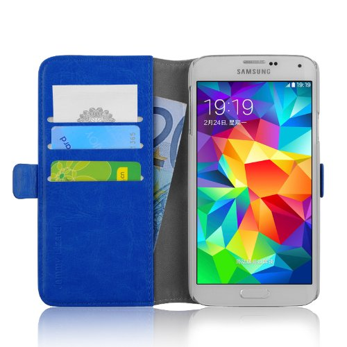 JAMMYLIZARD Cover Galaxy Ace 3, [Luxury Wallet] Custodia a Libro Portafogli in Pelle per Samsung Galaxy Ace 3, BLU