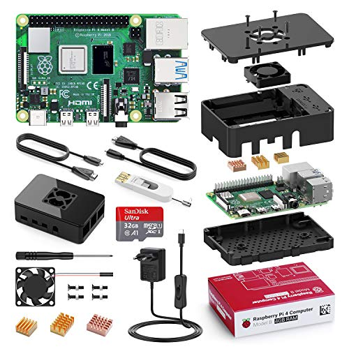 Raspberry Pi 4 Model B 4 GB /32GB Micro SD-Karte, Ultimatives Kit mit Quad-Core A72 unterstützt Dual Display 4K/ 1000Mbps/ BT 5.0/ Upgrade für Raspberry Pi 3