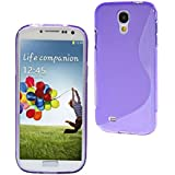 Design Rubber Silikon TPU Cover Case Hülle Handy Schale Kappe in der Farbe Lila für Samsung i9500 i9505 Galaxy S4