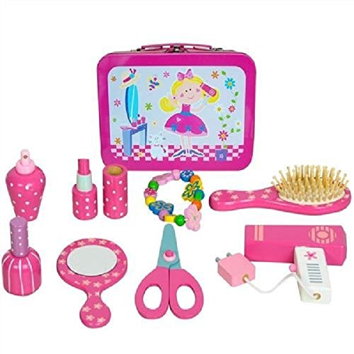 Preisvergleich Produktbild Children's wooden beauty set in travel tin case, pretend play vanity case