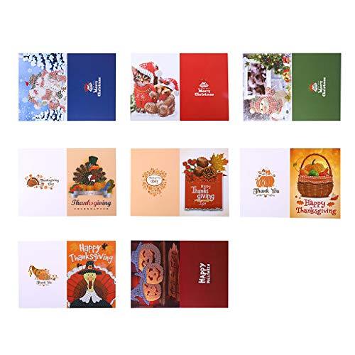 Xurgm 8 PCS 5D DIY Diamant Painting Geschenkkarte Mit Umschlag Nach Anzahl Set Cartoon-Muster Diamant Glückwunschkarte Kristall Bild Weihnachtskarte Strass Handwerk Grußkarte Für Geburtstag Festival