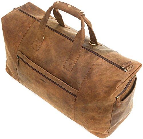 LEABAGS Sydney borsone da viaggio vintage in vera pelle di bufalo - CrazyVinkat Marrone
