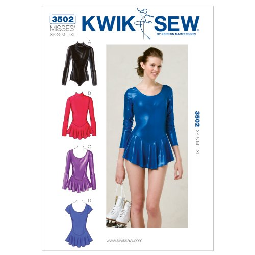 KWIK - SEW PATTERNS K3502 Size Extra-Small - Small - Medium - Large - Extra-Large Leotards, Pack of 1, White