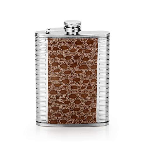 Taschenflasche tragbare 8-Unzen-Flasche im Freien tragbares Mini-304-Edelstahlweinset Feriengeschenk Weinflasche (Color : Brown, Size : 16 * 9.5 * 2.5cm) (8 Unzen Flasche Für Männer)