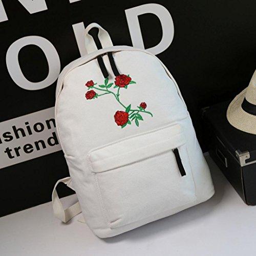 Bianco la ha delle borsa donne borsa 3 dello zaino spalla ricamato La Longra del sacchetto di di pezzo corsa qIwfU0