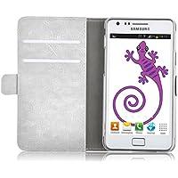 Samsung Galaxy S2 Lederhülle | JAMMYLIZARD Handyhülle [ Luxuriöse Series ] Ledertasche Flip Case Cover Hülle Leder Schutzhülle mit Kartenfach, Champagner Weiß