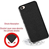 Case Creation (TM) Ultra Thin 0.3mm Matte Finish Leather Case Transparent Flexible Soft TPU Slim Back Case Cover For VIVO Y53i/Vivo Y53/Vivo 1606 (5.0-inch) 2016 - Black Leather Silicone