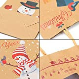 Elcoho 12 Pieces Christmas Kraft Bags Holiday Party Bag Shopping Bags Paper Bags with Handle for Christmas Decorations Bild 3