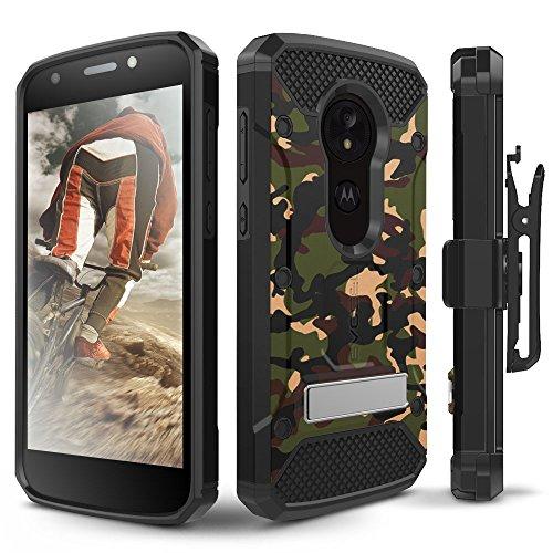 Motorola Moto E5Play Schutzhülle, evocel [Explorer Pro-Serie] mit Glas Displayschutzfolie und Metallständer für Motorola Moto E5Play, Camouflage - T-mobile Telefono