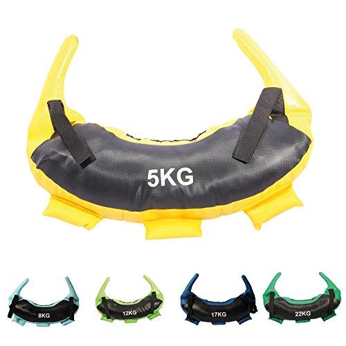 POWRX Bulgarian Bag I 5kg, 8kg, 12kg, 17kg, 22kg I piel sintética Saco de arena para Functional...