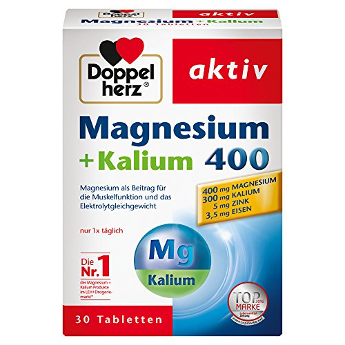 Doppelherz Magnesium + Kalium 400 – Für die normale Muskelfunktion und das normale Nervensystem – 1 x 30 Tabletten