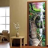Creative 3D Cascades Nature Stickers Muraux Diy Murale Chambre Décoration De La Maison Affiche Pvc Étanche Porte Autocollant 77X200Cm