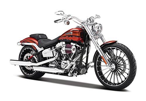 Maisto Harley-Davidson CVO Breakout ´14: Motorradmodell 1:12, mit Lenkung, beweglichem Ständer und frei rollenden Rädern, 17 cm, orange (532327)