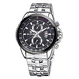 Man-hj Leuchtende Zeiger-Kalender-Anzeige Zwei kleine Dekorations-Vorwahlknopf-Mann-Quarz-Uhr mit Legierungs-Band Uhren (Farbe : Silber)