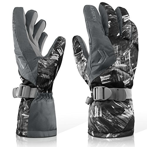 Ubenmart Guantes de esquí de invierno, guantes calientes con puños ajustables, transpirable, Superficie hidrófoba Mantenga las manos secas, Hebilla para unir juntos, para el snowboard, ciclismo