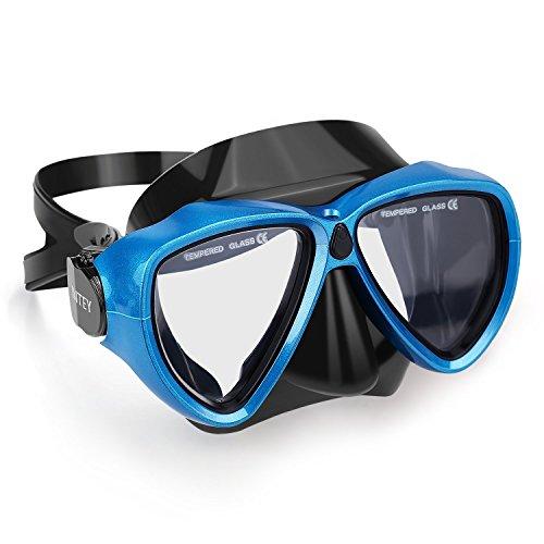INTEY Schnorchelset oder Taucherbrille Schnorchelmaske mit Anti-Fog Taucherbrille und Dry Schnorchel inkl. Ausblasventil und Anti-Fog Tachermaske aus Gehärtetem Glas für Erwachsene und Kinder