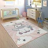 Paco Home Alfombra Habitación Infantil Niña Moderna Unicornio sobre Las Nubes En Rosa Y Lila, tamaño:120x170 cm