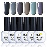 Ukiyo Smalto Semipermanente 6pcs Smalto per Unghie Colore Grigio per Unghie Soak Off 8ml con Caja-017