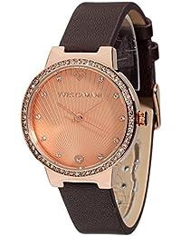 Yves Camani Damen-Armbanduhr Toulon mit silbernem steinbesetzem Zifferblatt und silbernem Edelstahl-Gehäuse. Klassische Quarz Damen-Uhr mit steinbesetzer Lünette sowie schwarzem Leder-Armband