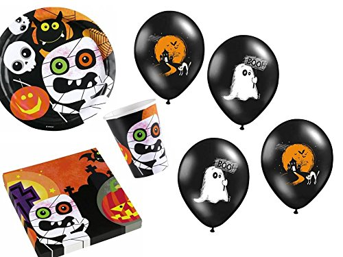 42-tlg. Partyset HALLOWEEN Monster für 8 Kinder - Partygeschirr im Set mit (Halloween Geschirr Party)