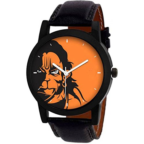 VeBNoR Analogue Orange Black Multicolor Dial Lord Hanuman Black Leather  Strap Belt Wrist Watch for Boys and Men Stylish Latest -464 a43e069a4cb62