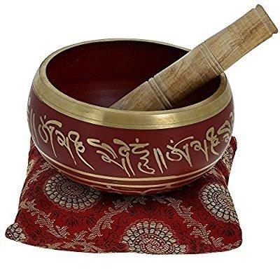Tibetische Klangschalen von YouCan im Set, inklusive Klangschale, Kissen und Klöppel, für Heilung, Meditation, Gebet und Yoga 4 inch rot