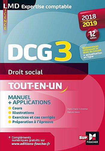 DCG 3 - Droit social - Manuel et applications - 2018-2019 - 12e édition - Préparation complète