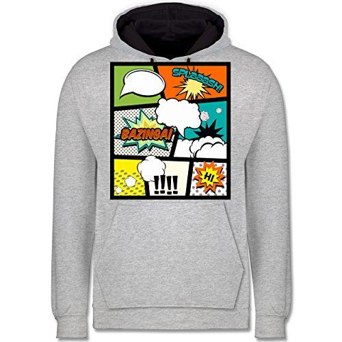 Comic Shirts - Comic Buchseite - Kontrast Hoodie Grau meliert/Dunkelblau