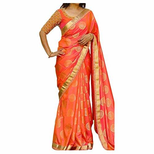 Livas Fashion Silk Saree With Blouse Piece (Orange)