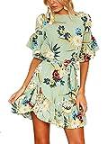 YOINS Sommerkleid Damen Kleider Rundhals Blumenmuster Kleid Elegant Kurz Hohe Taillen Minikleid Partykleid Strandmode Grün S/EU36-38