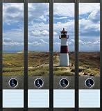 4er Set Ordnerrücken für breite Ordner Leuchtturm Maritim Ordner Aufkleber Etiketten Deko 007