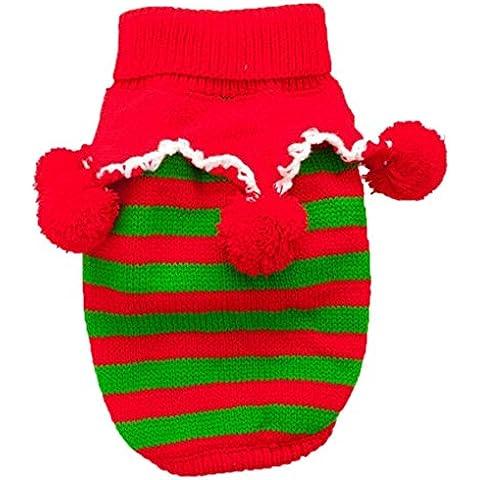 RETUROM Ropa caliente del suéter de ropa para perros caliente del perro de perrito del animal doméstico feliz Navidad (M)