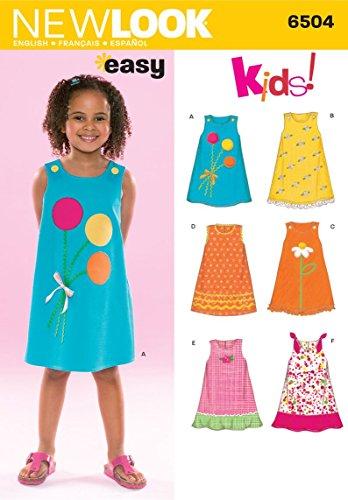Simplicity New Look 6504Größe A Schnittmuster für Kinderkleider, mehrfarbig