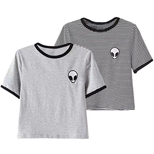 42c55ffb627e3 ROPALIA Women Short Sleeve Tee Loose Print Blouse Casual Crop Tops - Buy  Online in Oman.