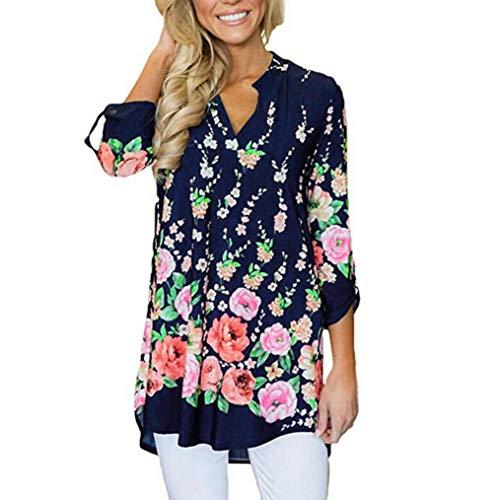 TEBAISE Damen Blumenkleid Bohemian Strandtunika Sommerkleid Tunikakleid Bluse Long Sleeve für Mädchen Langen Ärmeln Drucken(Marine 1,L)