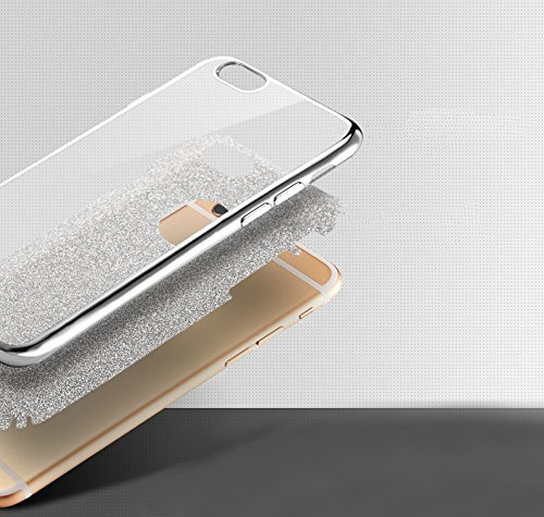 iPhone 6S Plus Silicone Coque,iPhone 6S Plus (Not Pour iPhone 6S/6 4.7 Pouce)Bling Diamant Coque en Silicone Coque Clair,EMAXELERS iPhone 6 Plus / 6S Plus Silicone Case Silver Slim Soft Gel Cover with D TPU 4