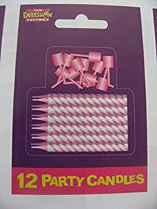 The Expression Factory AMZCA02 - Vela para tarta con purpurina, color rosa y blanco