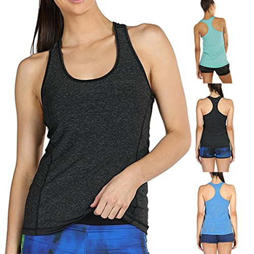 Wawer Women's Sports Vest Tops, Summer Sleeveless Yoga Activewear Running Workouts Tank,Racerback Backless Blouse Tee T-Shirt for/Daily/Party/Daily/Beach,S-XL