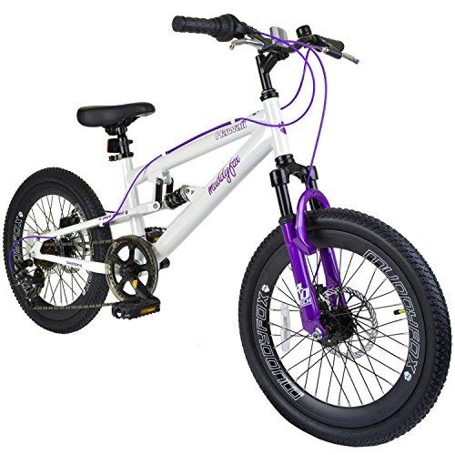 Muddyfox Hawaii 20 Girls Dual Suspension Mountain Bike in White and Purple - 7 Speed