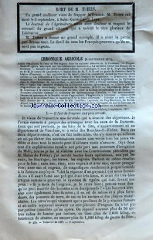 JOURNAL DE L'AGRICULTURE [No 439] du 08/09/1877 - CHRONIQUE AGRICOLE - ACTION SIMULTANEE DE LÔÇÖEAU ET DES ENGRAIS DANS LES CULTURES ARROSEES DE LA PROVENCE - PROPORTIONS DÔÇÖENGRAIS EMPLOYES PAR LES CULTIVATEURS ARROSANTS - LA VERITABLE VALEUR DES LIMONS DE LA DURANCE - DANGERS DES GENERALISATIONS HATIVES - NECROLOGIE - MORT DE M HUGH STEPHENSON ET DE M LE COMTE DE LAMBERTYE - NOMINATION DE MFR DUVAL AU GRADE DE CHEVALIER DANS LA LEGION DÔÇÖHONNEUR - LES IMPORTATIONS DE BETAIL VIVANT EN ANGL par Collectif
